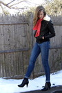 Brown-f21-jacket-red-thrift-scarf-blue-2nd-hand-altered-jeans-black-h-m-bo