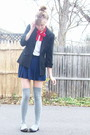 Black-2nd-hand-blazer-blue-h-m-skirt-gray-target-socks