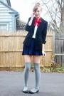 Black-2nd-hand-blazer-blue-h-m-skirt-gray-target-socks