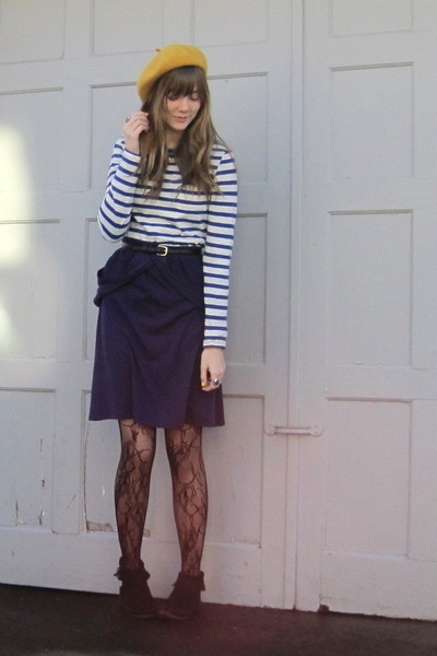 gold Target hat - blue H&M shirt - purple i forget dress - black f21 tights