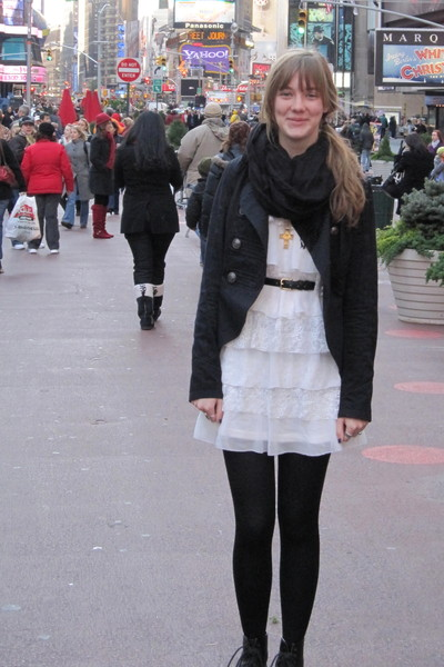 white dress - black jacket - black shoes - black scarf