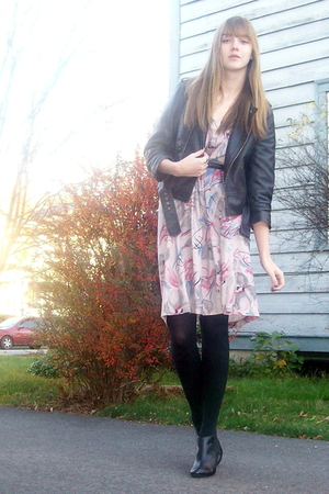 black delias jacket - purple Vintage from Mom skirt - black boots