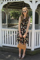 orange Borrowed from mom dress - white f21 sunglasses - brown consignment purse