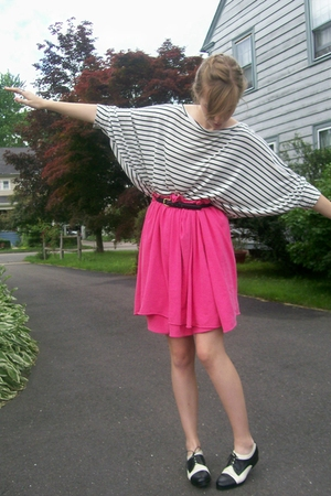pink American Apparel scarf - black Ebay shoes - white H&amp;M shirt