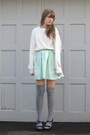 White-stolen-from-dad-sweater-green-selfmade-skirt-silver-target-socks-blu