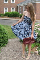 beige Forever 21 shoes - blue gift H&M dress - red Tag sale bag