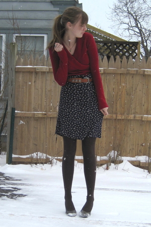 red old fromkohls sweater - blue thrift dress - brown tights - gray H&amp;M shoes - 