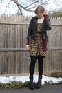 Black-delias-jacket-red-target-cardigan-brown-thrift-dress-black-f21-boots