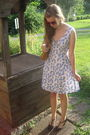 Red-hot-topic-sunglasses-blue-syms-dress-brown-consignment-shoes-brown-con
