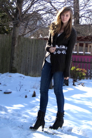 green  sweater - black f21 boots
