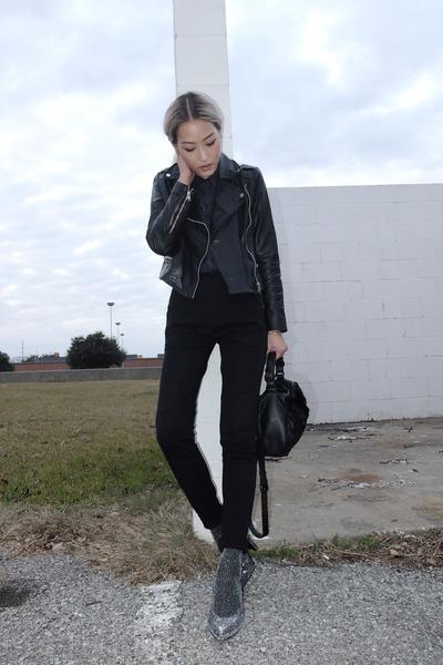 black Mango jacket - navy TheySkens Theory shirt - black Forever 21 pants