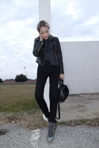black Mango jacket - navy TheySkens Theory shirt - black Forever 21 pants