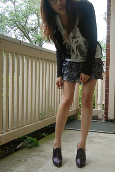 hinfray guillaume shoes - Forever 21 sweater - obey t-shirt - Forever 21 skirt