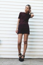 maroon acne shorts - maroon H&M t-shirt - black Miu Miu pumps