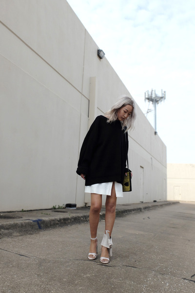 white skirt - black sweater - yellow 10 Crosby bag