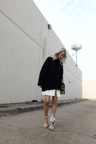white skirt - black sweater - yellow 10 Crosby bag