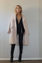 black Guiseppe Zanotti boots - light pink H&M coat - black rag & bone jeans