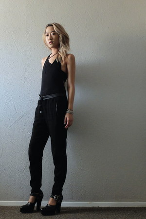 black American Apparel bodysuit - black Helmut Lang bra - black H&M pants