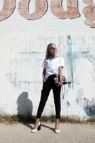 black vintage 255 Chanel bag - black stretch leather Helmut Lang pants