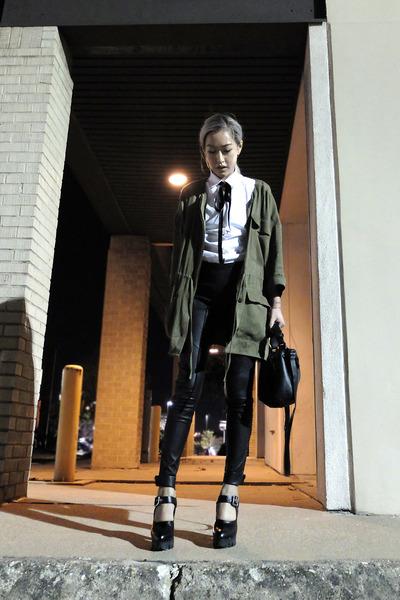 olive green H&M jacket - black rag & bone leggings - white Jil Sander shirt