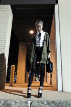 olive green H&M jacket - black rag & bone leggings - white Jil Sander shirt