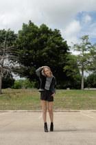 black Guiseppe Zanotti boots - charcoal gray Helmut Lang sweater