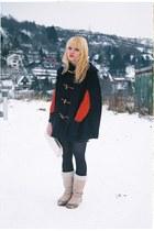 sheep wool boots - christmas H&M sweater - christmas wish vintage purse - christ