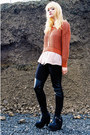 Black-fake-balenciaga-boots-burnt-orange-h-m-sweater-light-pink-h-m-blouse-