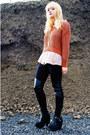 Black-fake-balenciaga-boots-burnt-orange-h-m-sweater-light-pink-h-m-blouse-