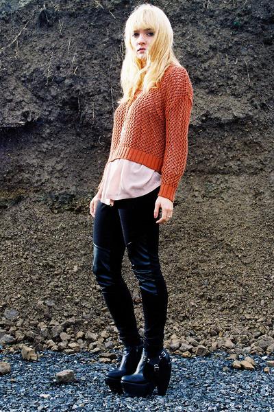 black FAKE BALENCIAGA boots - burnt orange H&M sweater - light pink H&M blouse -