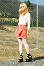 Carrot-orange-bow-h-m-skirt-off-white-lace-vintage-bodysuit-black-topshop-we