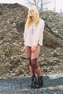 Black-topshop-boots-tawny-h-m-leggings-neutral-h-m-blouse-camel-h-m-cape