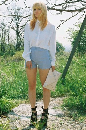 white Secondhand shirt - light pink H&M bag - periwinkle scalloped DIY shorts -