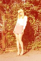 beige vintage blouse - orange H&M skirt - beige Zara shorts - white vintage belt