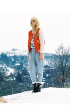 red mary lou H&M jacket - black Topshop boots - heather gray H&M pants