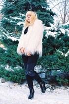 black New Yorker pants - white Zara coat - black Topshop accessories - black Top