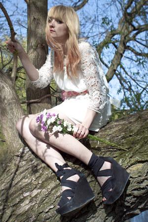 white H&M dress - black Topshop wedges - bubble gum DIY accessories