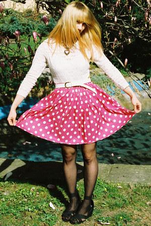 white body vintage accessories - hot pink vintage skirt - black Topshop wedges -