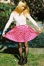 white body vintage accessories - hot pink vintage skirt - black Topshop wedges -
