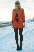 black Topshop boots - black Zara t-shirt - red costume H&M suit
