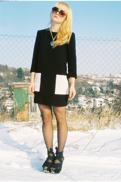 black H&M dress - burnt orange H&M sunglasses - black Topshop wedges - gold diy