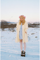 light yellow vintage coat - light blue vintage dress - ivory asos tights - pink