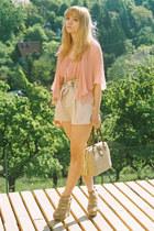 beige Zara wedges - beige vintage bag - beige H&M shorts