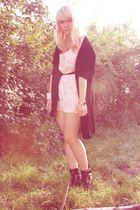 pink DIY Miu Miu dress - black vintage blazer - black Topshop shoes - white H&M