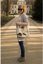 black glasses - beige purse - beige shoes - leggings - silver cardigan - shirt