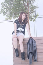 leather jacket ACIDE jacket - Parisian KICKS shoes - diy Skinny Fit Jeans shorts