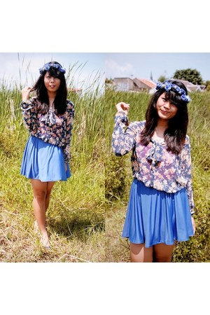 blue Cloth Inc skirt - Stradivarius bracelet - blue flower Zara blouse