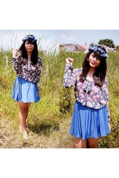 blue Cloth Inc skirt - Stradivarius bracelet - blue flower Zara blouse