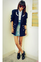 black H&M boots - navy vintage blazer - sky blue Archive skirt - sky blue mini-t