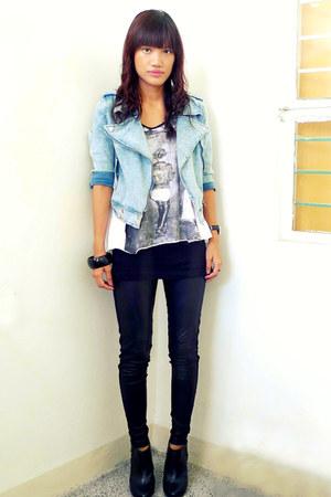 black H&M boots - light blue From HK jacket - black Forever 21 leggings